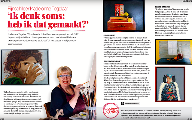 Fleur Akersloot, 'Fijnschilderes Madelonne Tegelaar - 'Ik denk soms: heb ik dat gemaakt?', ANBO Magazine (2019) no. 1 (januari), p. 60-61